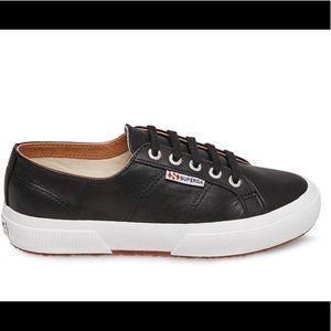 Superga Leather Classic Black Size 8.5/39.5 NWT